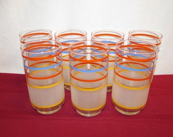 LIBBEY STRIPED GLASSWARE Set of 7 Mod Glasses