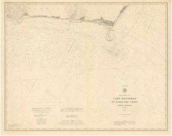 Cape Hatteras to Ocracoke Inlet -1885 Outer Banks North Carolina - Nautical Map Reprint  80000 AT Chart 145