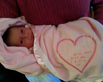 Baby girl  blanket Personalized with Heart and child's  name, date, and birth time