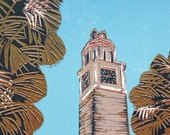 The Clock Tower, University of Exeter, Linocut