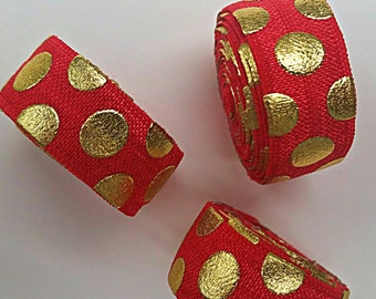 5/8 RED with Giant Gold Polka Dot Fold Over Elastic