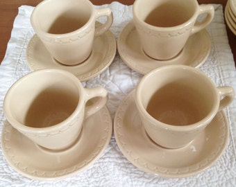 Syracuse Econo-Rim Cups & Saucers--Set of 4