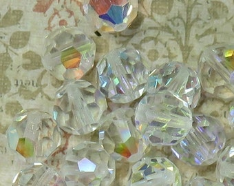 Vintage Aurora Borealis Leaded Crystal Faceted Beads, c. 1920, 12 Beads - Item 1727