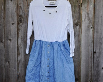 1990's Plus Size Denim Skirt and Funky Silver Flower Button Dress