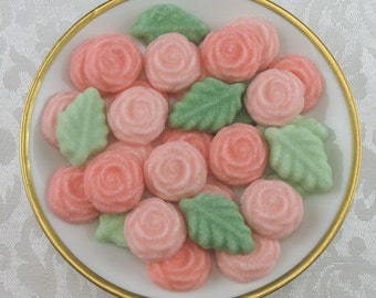 36 Peach Colored Open Rose and Leaf shaped sugar cubes for tea party, shower, party favor, bridal, wedding, hostess gift