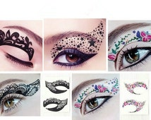 Pairs Black Color Eyes Winged 1 Pair Bridal Tear Proof Makeup Eyeliner Temporary Tattoo Dance Masquerade Party christmas Halloween