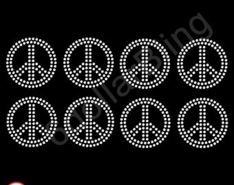 Rhinestone Iron On Transfer Pack of 8 Small 2 inch Peace Signs - Make Your Own Shirt, Cheer Bows DIY