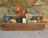 Vintage Wooden Tool Box – Handmade Tool Storage – Rustic Wooden Tool Caddy - Vintage Wood Tool Box - Primitive Wooden Carrier