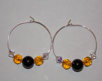 Black and Gold Beaded Earrings
