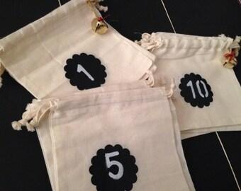 10 Bustine di mussolina / 10 Muslin Cotton Bags