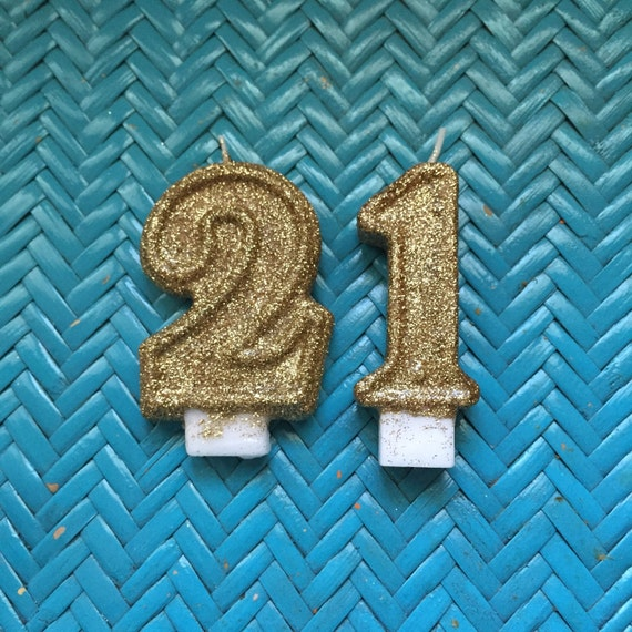 Gold Glitter Birthday Candle Number 21 21st Birthday