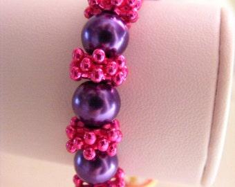Cerise and Purple Pearl Bracelet