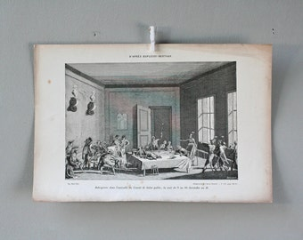 antique french etching -engraving - Robespierre in antisalle public salvation committee, the night of 9 to 10 Thermidor Year II