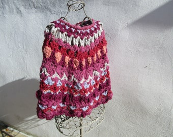 colourful merinos wool and alpaga crochetted poncho
