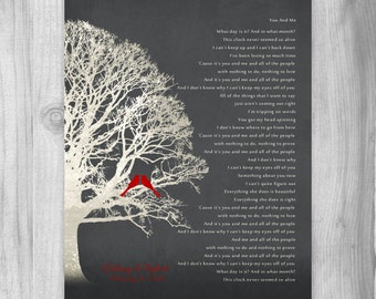 Personalized Wedding Gift Lyrics CANVAS or Print Family Tree Keepsake Customized First Dance Song Anniversary Gift Birds Rustic Red Gray