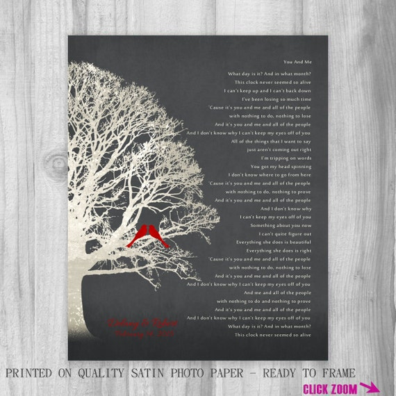 Personalized Wedding Gift Lyrics CANVAS Or Print Family Tree