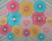 Aqua, Pink and Yellow Set of Seventeen (17) Paper Rosettes, Paper Fans Backdrop