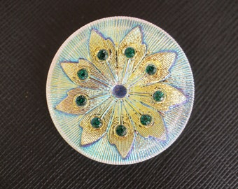Czech Glass Button with Rhinestones, Hand painted, size 16, 36mm, 1pc(BUT308/16)