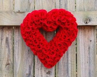 """Valentine's Day 11"""" Red Felt Heart Wreath - Wedding Wreath"""