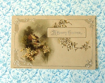 Vintage Easter Winsch Postcard Cottage Among the Lilies & Silver Details, Embossed