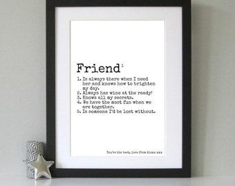 Friend gift - Friend present - Gift for best friend - Personalised friend present - Personalized print for Friend