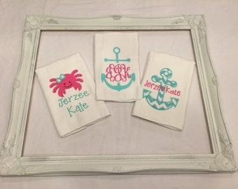 Girls nautical inspired burp cloths