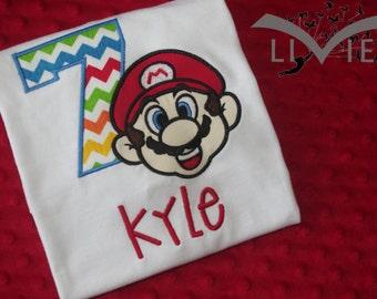 Super Mario Appliquéd Birthday Shirt