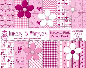 Pretty In Pink Breast Cancer Awareness Digital Scrapbook Papers - Instant Download
