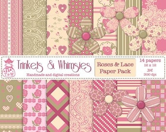 Roses and Lace Digital Scrapbook Papers - Instant Download