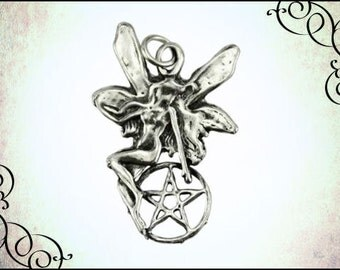 Fairy Magic Pewter Pendant, fairy jewelry, wiccan jewelry, fairy necklace