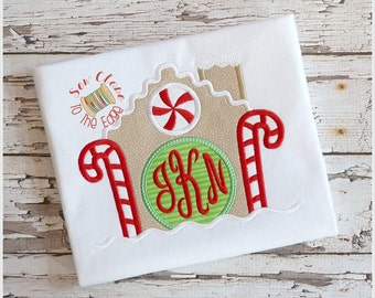 Christmas Gingerbread House Candy Cane Monogram T-Shirt - Personalized - Applique Monogram Holiday Shirt - Toddler - Youth Shirt