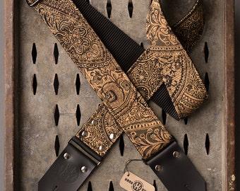 """Canyon Deuce Series 2"""" black and gold paisley guitar strap"""
