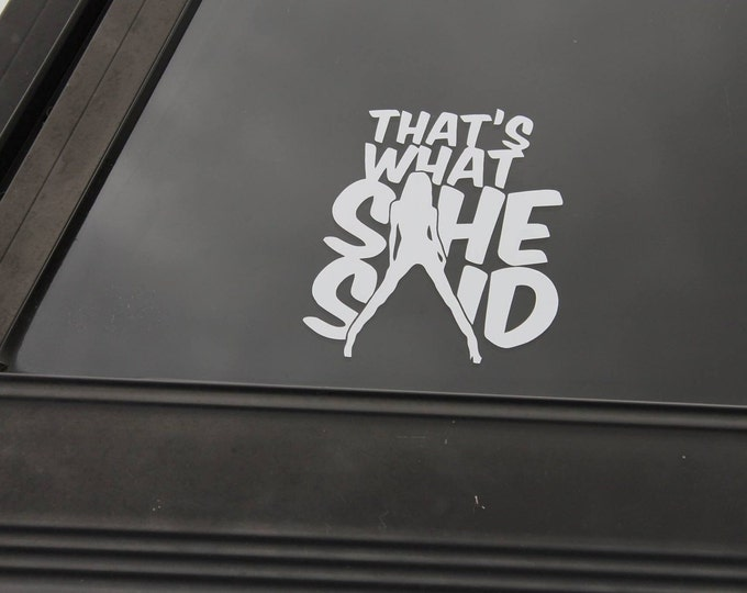 Thats what she said decal, what she said sticker, funny decals, funny stickers, that's what she said car sticker, car graphics, car decals