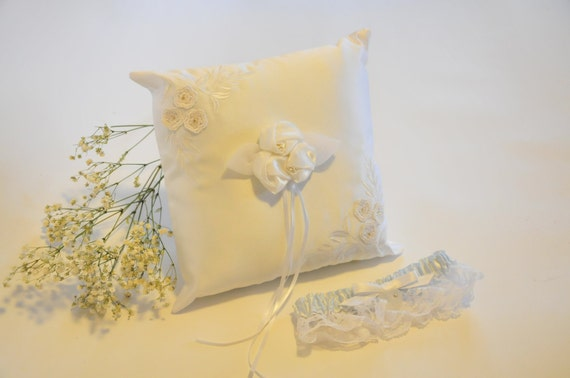 Wedding Ringbearer Rose and Flower Ring Bearer Pillow and Heart Garter