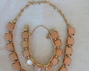 CORO PEGASUS Bracelet and Necklace, Caramel Moonglow Thermoset, Demi-parure