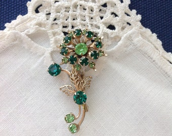 Floral Brooch Pin, Emerald and Peridot Rhinestone, Figural Pin, May and August Birthstone