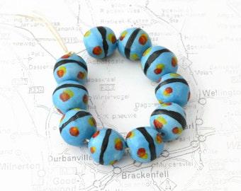 African Beads, Handmade Beads, Ceramic Beads, Skye blue, red, black, yellow
