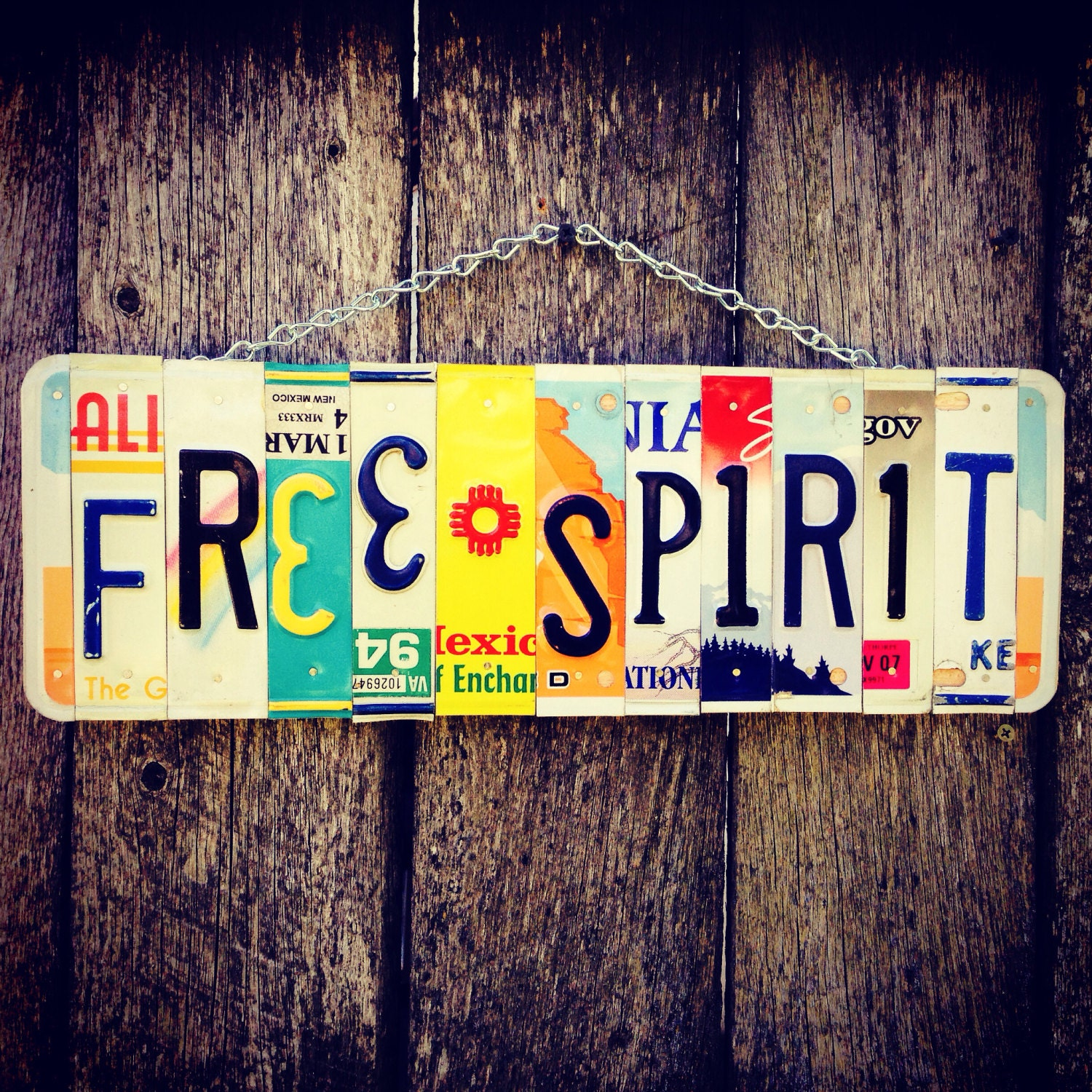 Free Spirit License Plate Art Boho Recycled License Plates