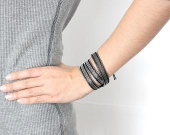 SALE Chain Wrap Bracelet-3 Wrap-Black (016GU)