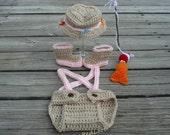 Girl Fishing Outfit Baby Fisherman Set Pink Fishing Hat Fishing Costume First Photos Photo Prop Fishing Set Baby Shower Gift Newborn Girl