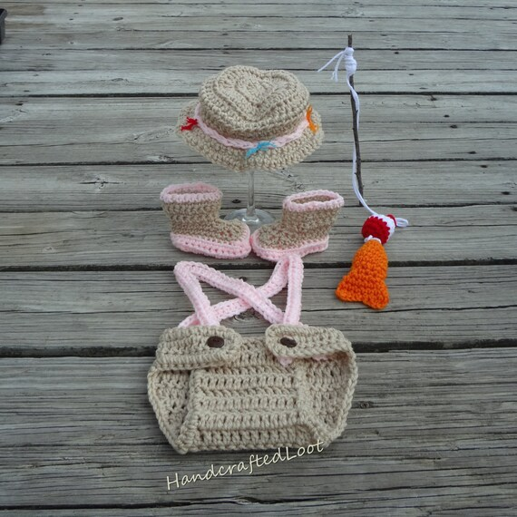 Girl fishing outfit baby fisherman set pink fishing hat for Baby fishing outfit