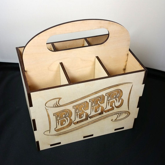 Beer case 6 pack laser cut wood for Six pack holder template