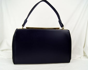 Vintage 1960s Navy Blue Vinyl Purse Handbag