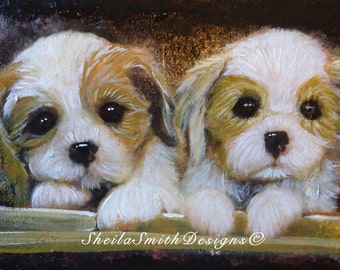 Adorable hand painted, puppy art on canvas
