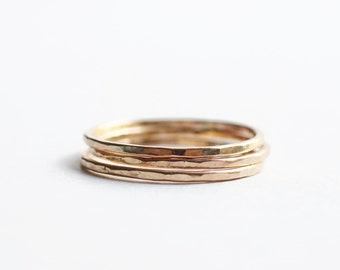 Hammered Triple-Stack Goldfill Rings