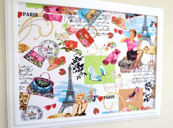 Go International We Love Paris Framed PinBoard Cork Board Bulletin Board