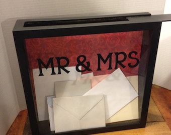 WEDDING CARD Box, 12x12, Shadow Box, THEN use for an Admit One Box to keep your ticket stubs in, Mr and Mrs, wedding gift, wedding decor