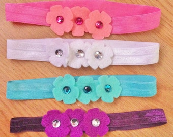 Baby Headband Gift Set, felt flowers and rhinestones