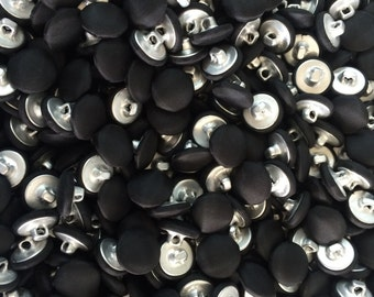 Black Satin Covered Buttons- 24 sewing buttons