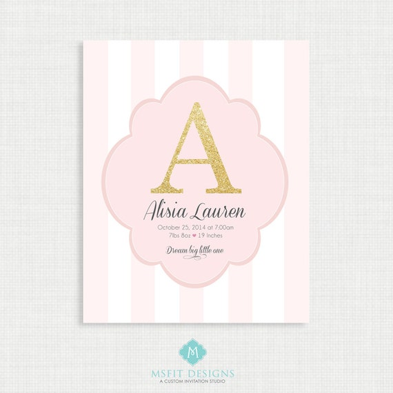 Nursery Wall Decor - Baby Birth Announcement Poster - Custom Girl Nursery Art, Sparkle Baby Print - 8x10 Digital Print